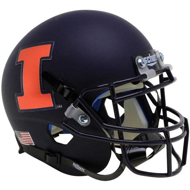 Illinois Fighting Illini Black Orange I Schutt Replica Football Helmet