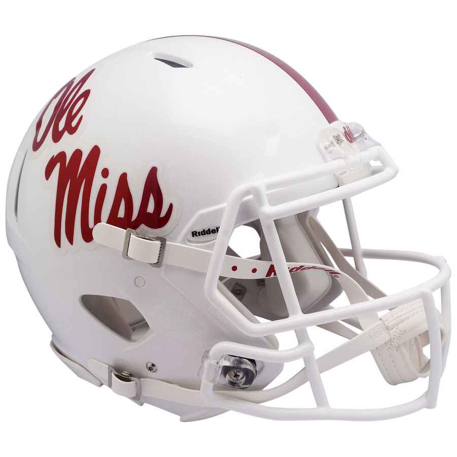 Mississippi Rebels Ole Miss White Riddell Speed Authentic Football Helmet 7dc1f7f63