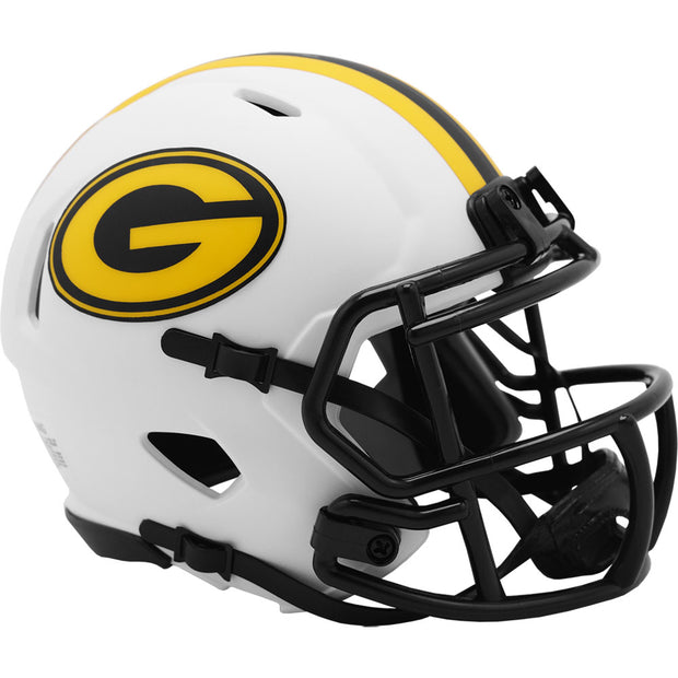 Green Bay Packers Riddell White Lunar Eclipse Mini Football Helmet