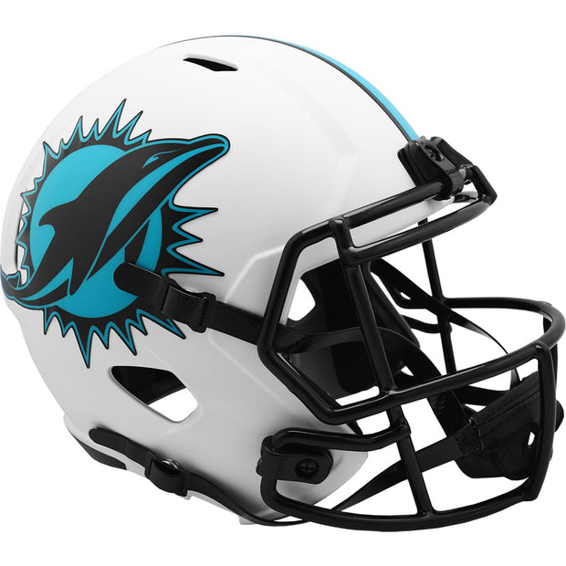 Miami Dolphins Riddell White Lunar Eclipse Full Size Replica Football Helmet