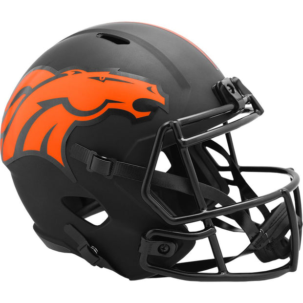 Denver Broncos Riddell Black Eclipse Full Size Replica Football Helmet