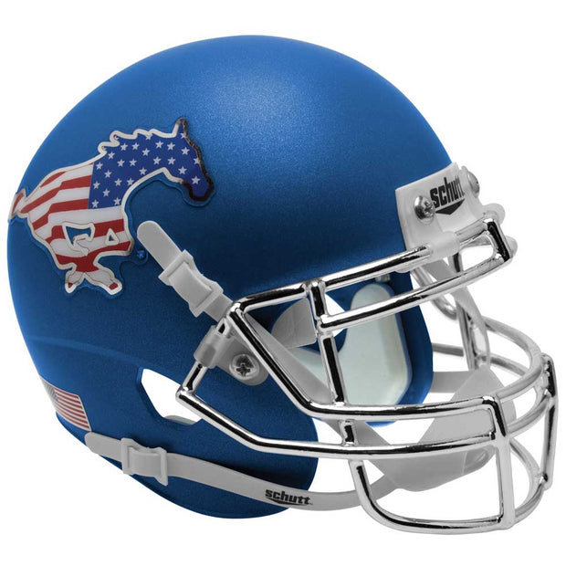 SMU Mustangs Blue Flag Schutt XP Replica Football Helmet