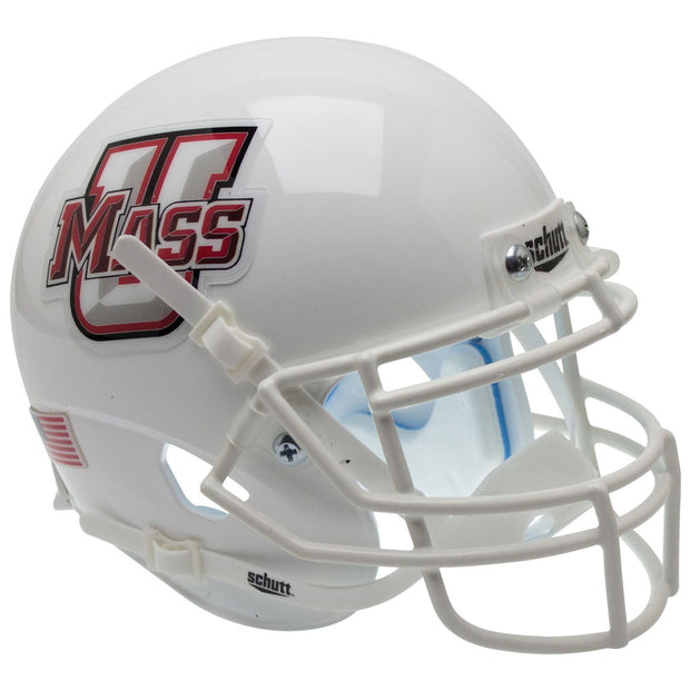 UMass Minutemen White Schutt XP Replica Football Helmet