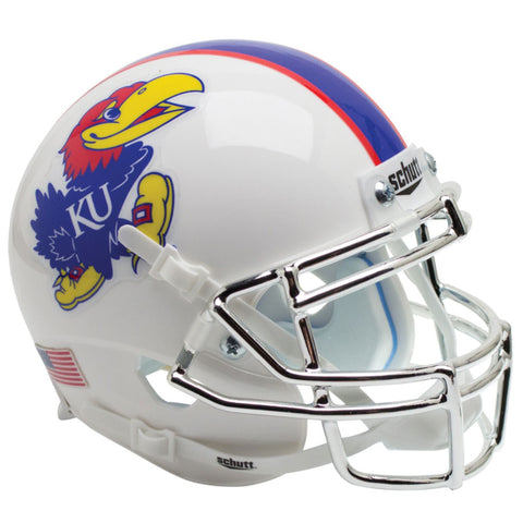 Kansas Jayhawks White Chrome Mask Schutt XP Replica Football Helmet