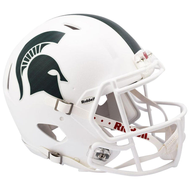 MSU Spartans White Riddell Speed Full Size Replica Football Helmet