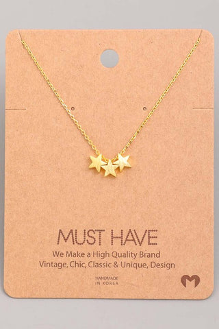 Mini Triple Star Charm Necklace
