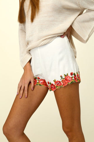 Woven Shorts with Rose Embroidered Detail