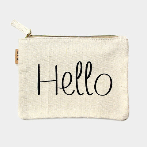 """Hello"" Cotton Canvas Eco Pouch"