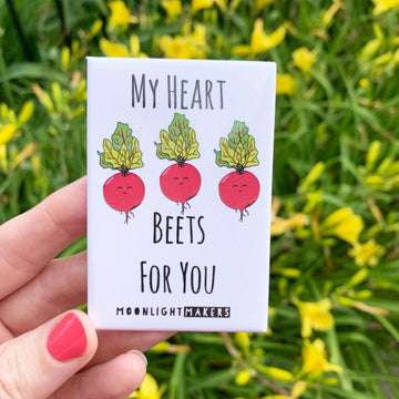 MY HEART BEETS FOR YOU FUNNY MAGNET