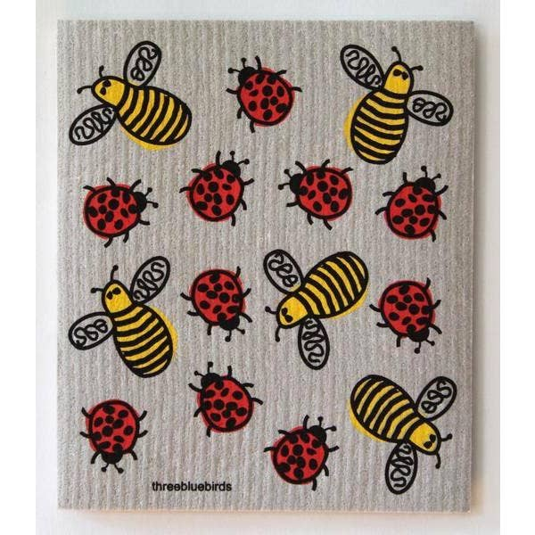 BEES AND BUGS ON GREY ~ SWEDISH DISHCLOTH - Bee The Change