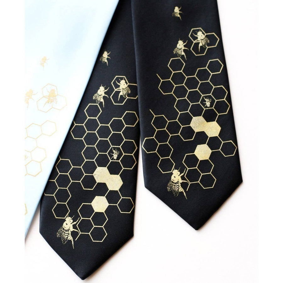 HONEYBEE SILK NECK TIE ~ BEEHIVE