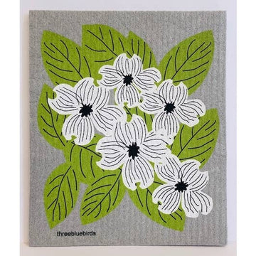 DOGWOOD ON GREY ~ SWEDISH DISHCLOTH - Bee The Change