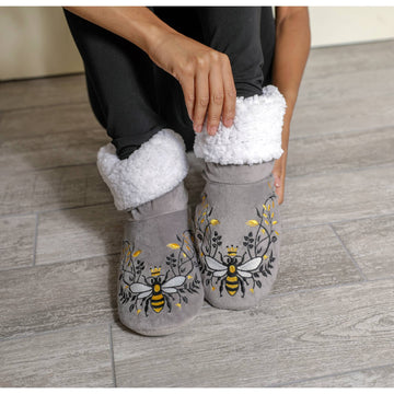 QUEEN BEE GREY WOMEN'S BEDROOM BOOTIES - Bee The Change