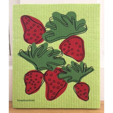 STRAWBERRIES ON GREEN ~ SWEDISH DISHCLOTH - Bee The Change
