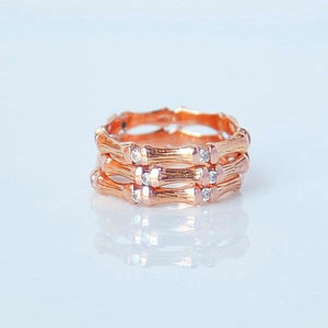 Diamond Bamboo Stackable Ring