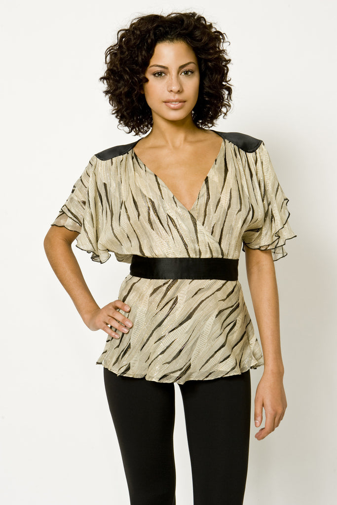 Printed Lurex Chiffon Dynasty Blouse