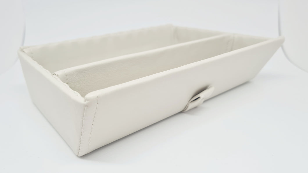 Synthetic leather tray - cream with divider