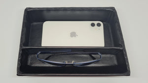 NEW Synthetic leather tray - black with divider