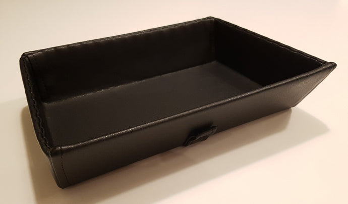 Synthetic leather tray - black