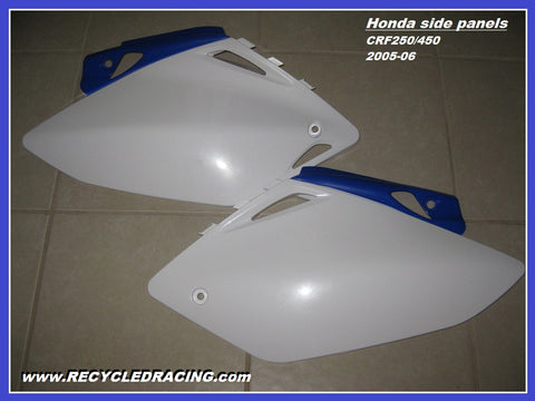 Honda CRF250 CRF450 CRF 250 450 side panels number plates white blue 2005 2006