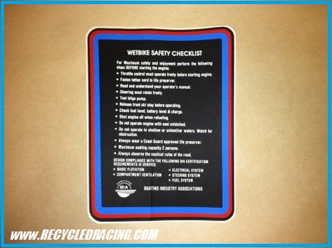 UltraNautics Wetbike dash warning & checklist decals