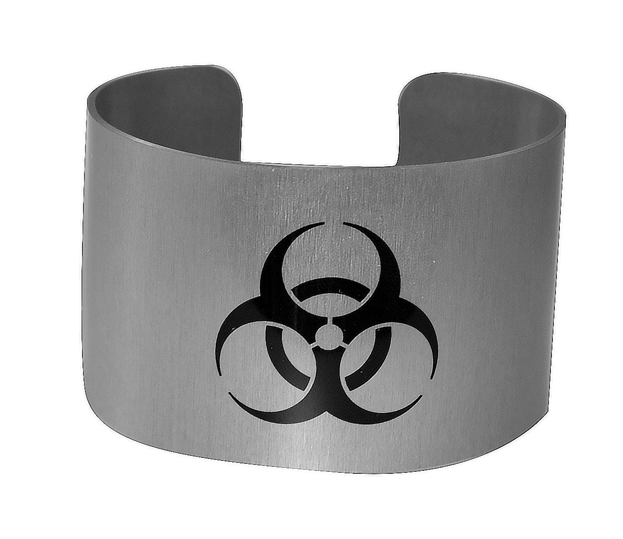 Biohazard Symbol Aluminium Wide Cuff Bracelet Neurons Not Included