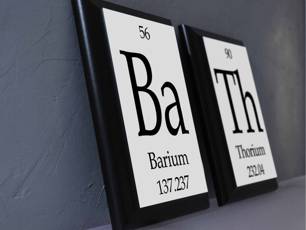 bath periodic table framed 2 piece wall plaque set - geeky home
