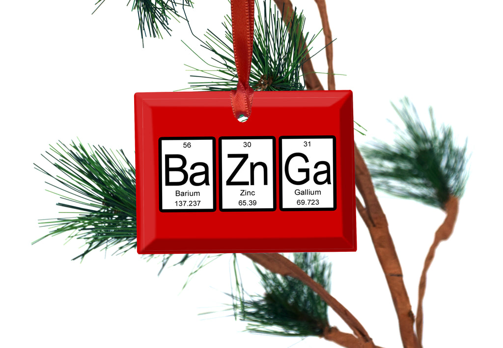 Bazinga Periodic Table of Elements Glass Christmas Ornament