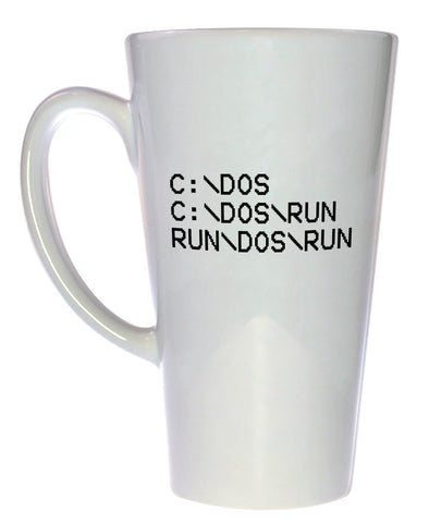 C DOS RUN Programming Coffee or Tea Mug, Latte Size