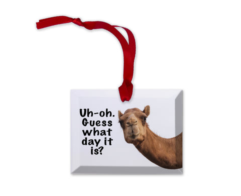 Glass Uh oh Guess what Day it is Funny Camel Christmas Ornament