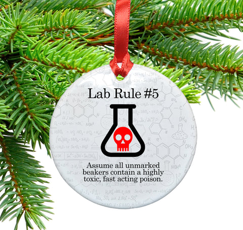 Lab Rule 6 Lab Rule Ceramic Christmas Tree Ornament