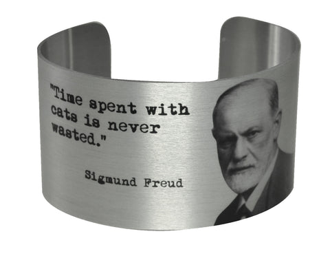 Sigmund Freud Cat Quote Wide Aluminium Cuff