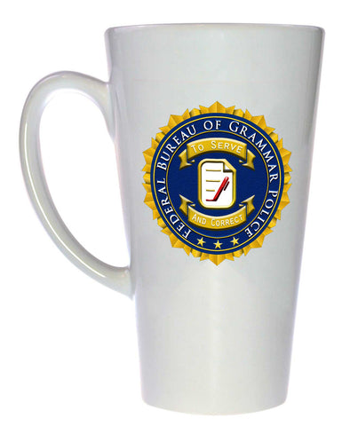 Federal Bureau of Grammar Police Official Seal - Coffee or Tea Mug, Latte Size