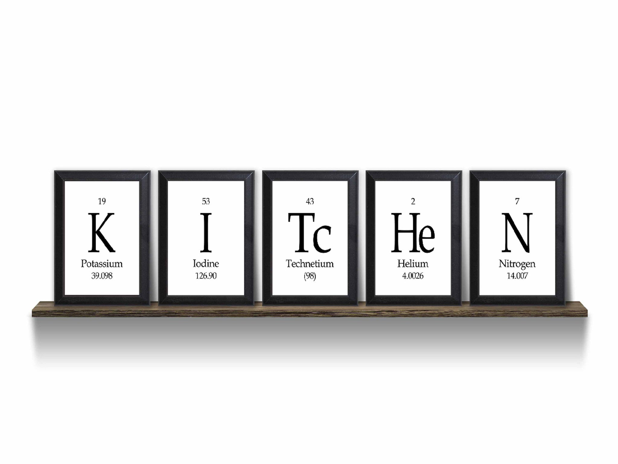 Kitchen periodic table framed 5 piece wall plaque set each for Kitchen wall art sets