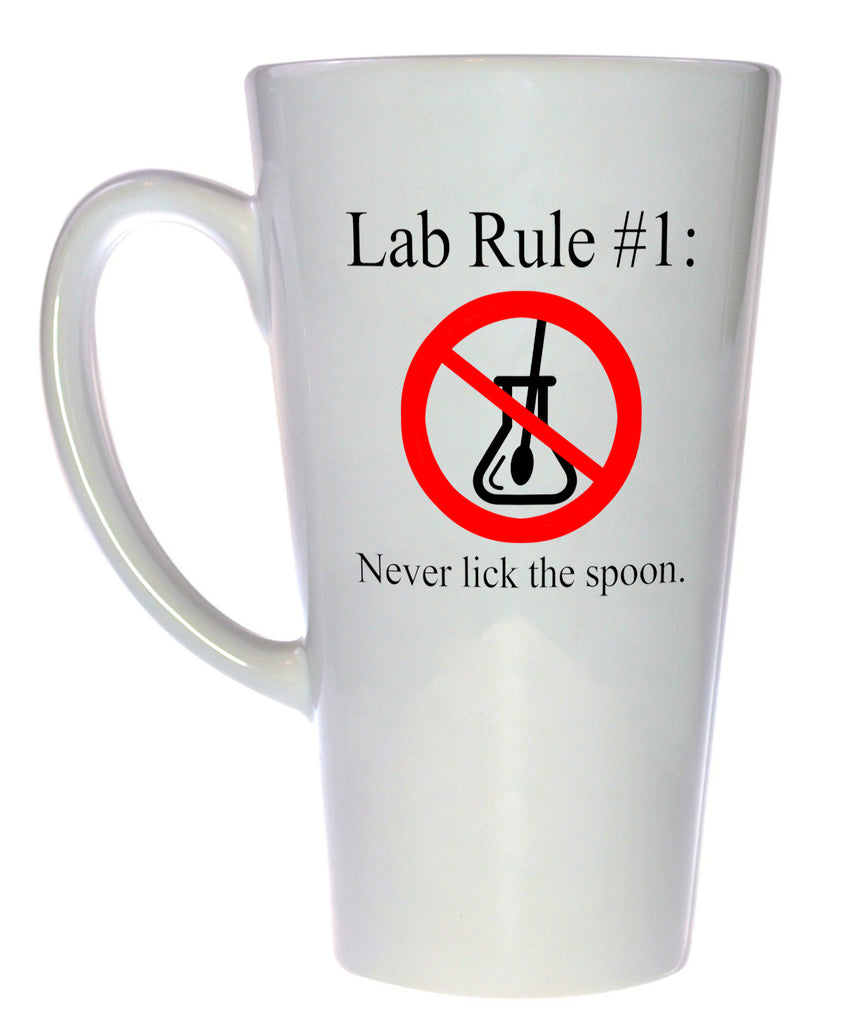 Lab Rule # 1: Never Lick the Spoon Coffee or Tea Mug, Latte Size