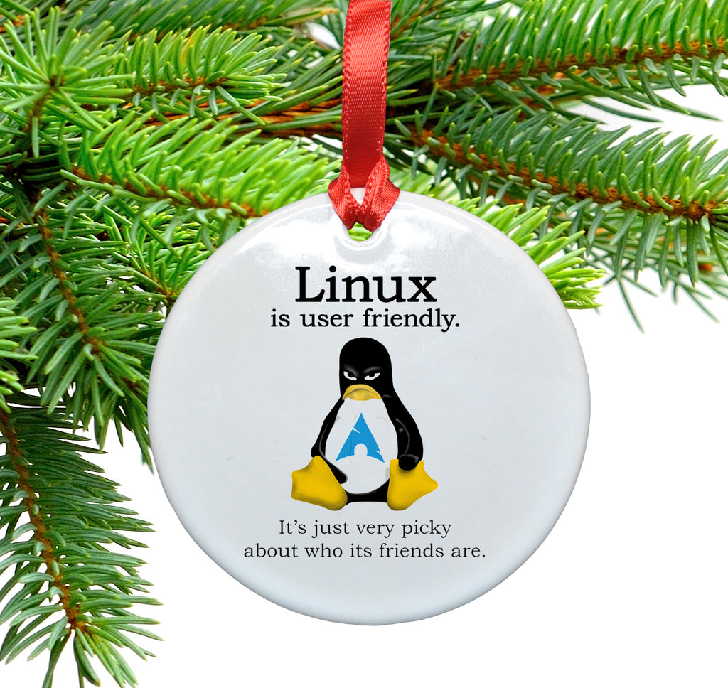 Linux is User Friendly Christmas Ornament