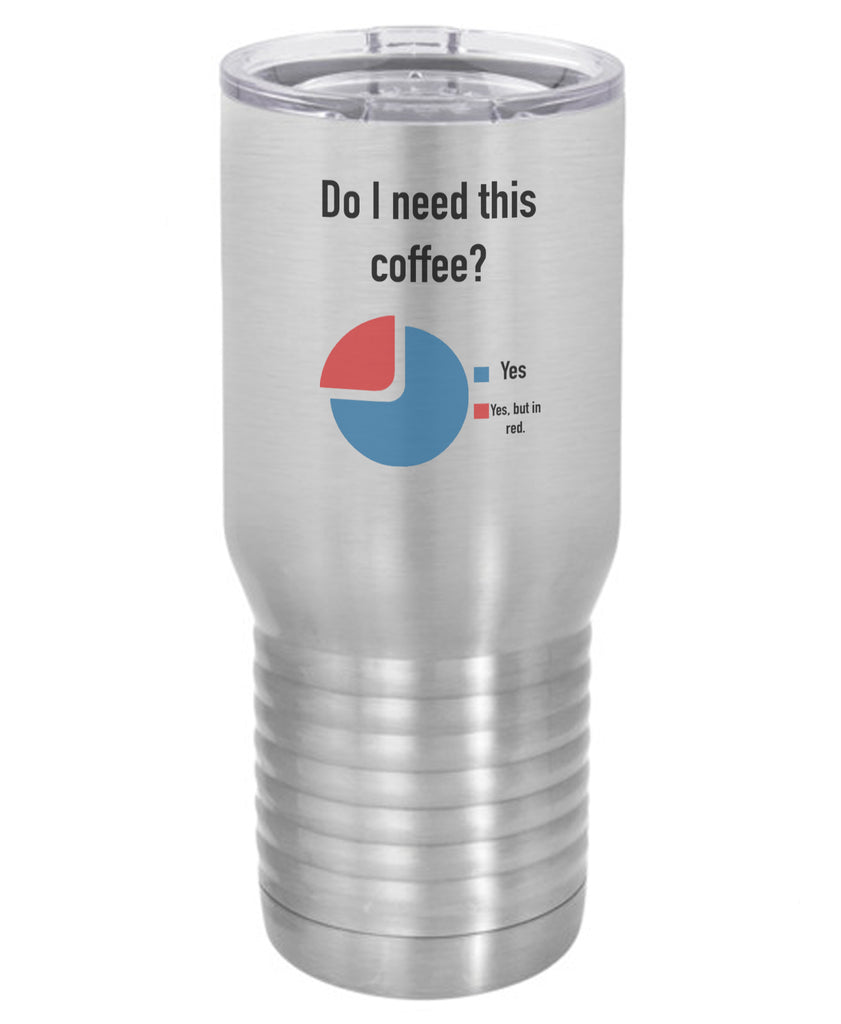 Silver Do I Need This Coffee Pie Chart Polar Camel Travel Mug- 20 ounce