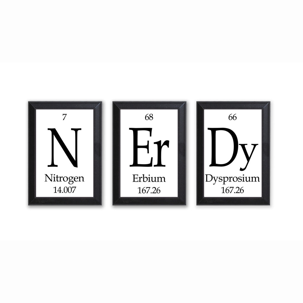 "Nerdy Periodic Table Framed 3 Piece Wall Plaque Set Each Plaque 5"" x 7"" - Geeky Home Decor"
