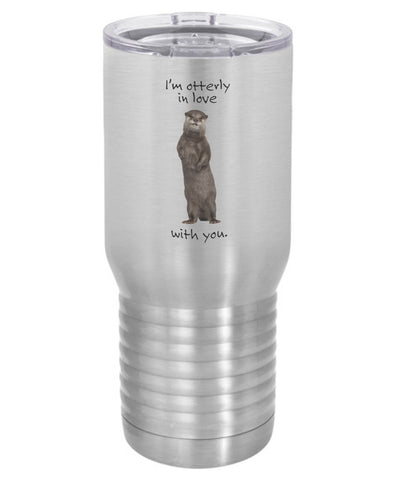 "Silver I""m Otterly ( Utterly) in Love With You Camel Travel Mug- 20 ounce"