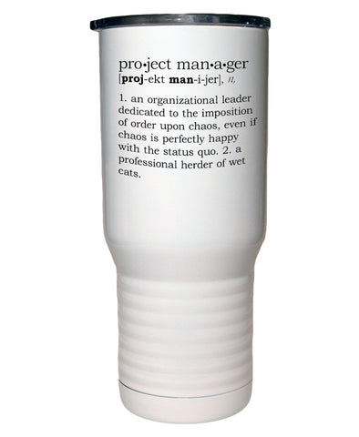 Project Manager Definition Polar Camel White Travel Mug- 20 ounce