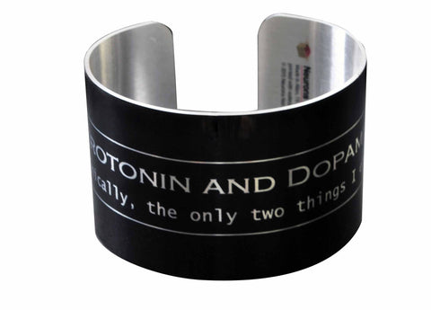 Serotonin and Dopamine Aluminum Geek Bracelet Wide Cuff