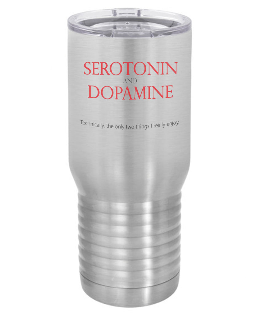 Silver Serotonin and Dopamine  Polar Camel Travel Mug- 20 ounce