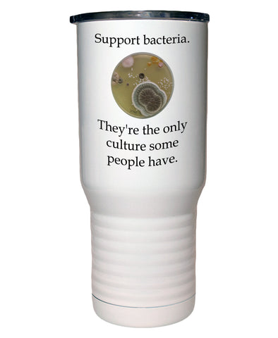Support Bacteria 20 Oz Polar Camel White Travel Mug