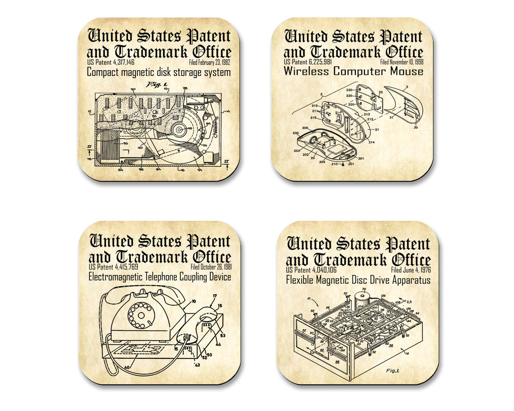 Computer Technology Patent Drawings  Coasters  4 Piece Set