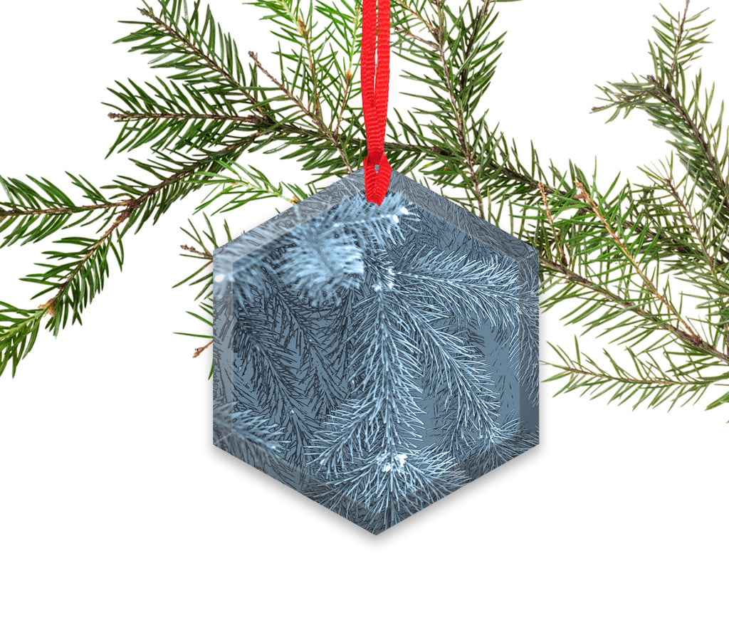 X-Ray Of Christmas Tree Branch Glass Christmas Ornament
