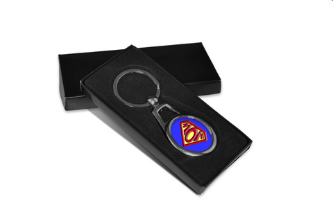 Super mom oval metal key chain ring