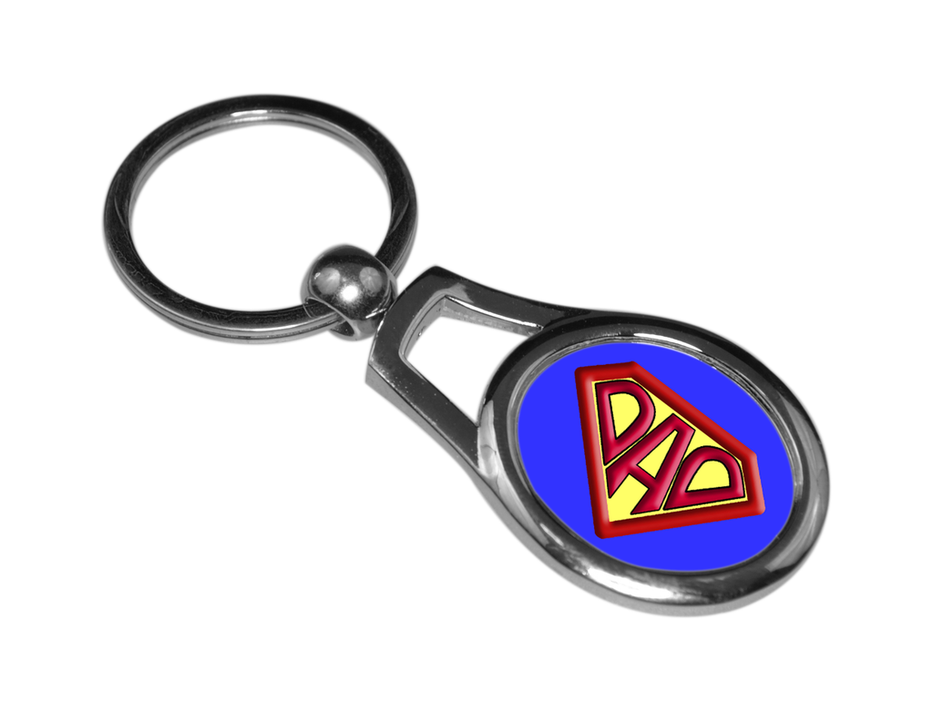 Super Dad oval metal key chain or ring