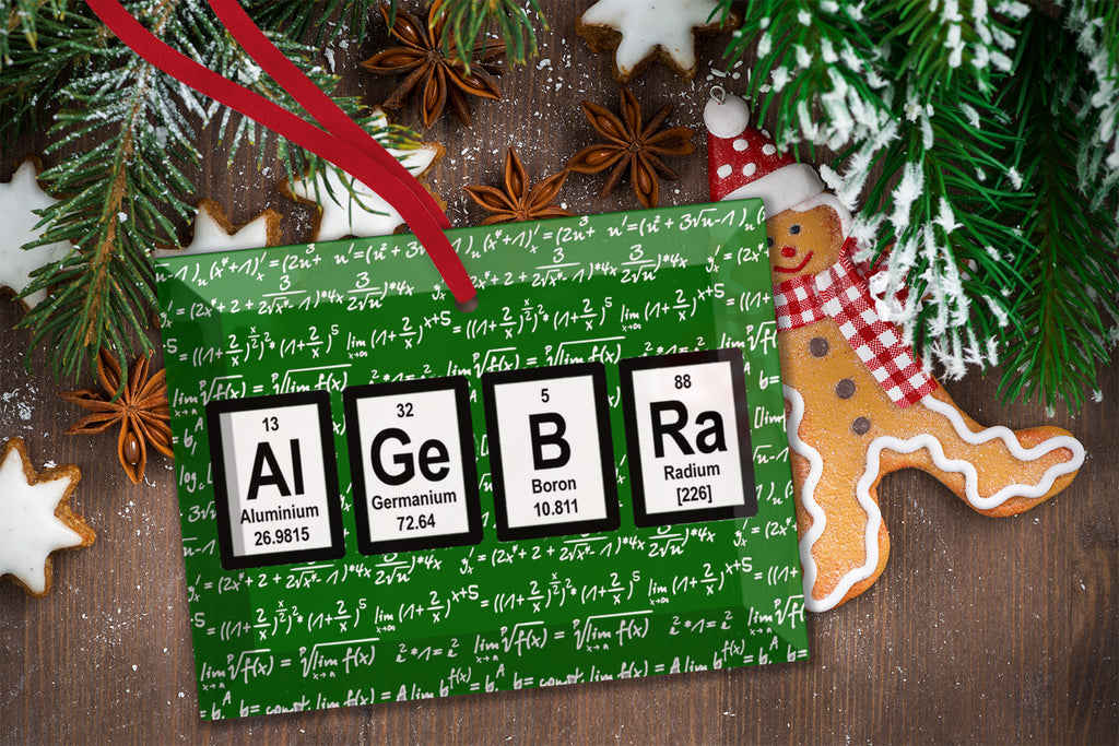 Algebra Math Periodic Table of Elements Glass Christmas Ornament