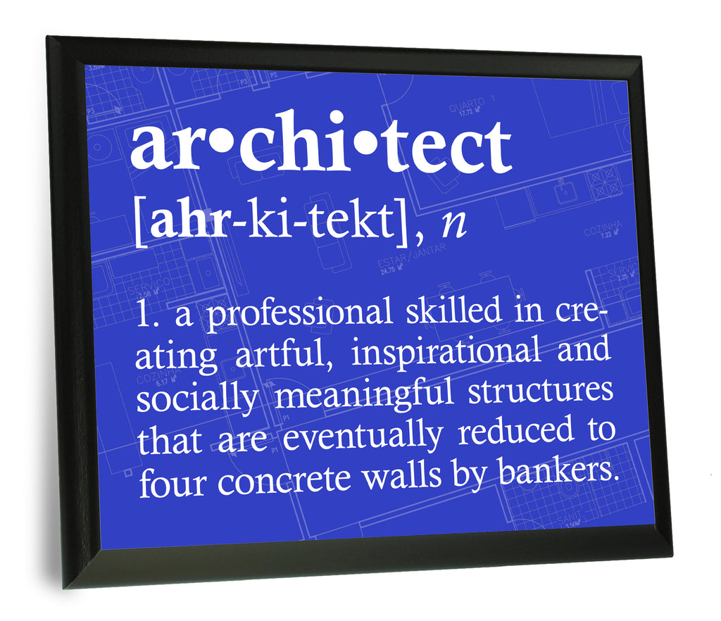 Architect Definition Typography  Wood Wall Plaque