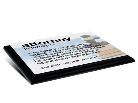 Attorney Definition Typography  Wood Wall Plaque